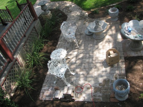 Brick patio at Historic House, view from above